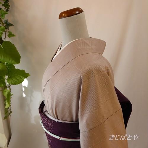 大島紬 鴇鼠色の小紋 胴抜