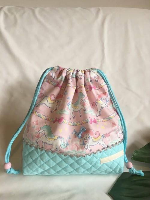 【オーダーOK】入園入学ランチバッグお弁当入れ巾着05ペガサスユニコーン