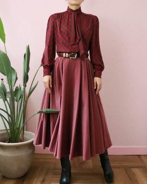 corduroy pink long skirt