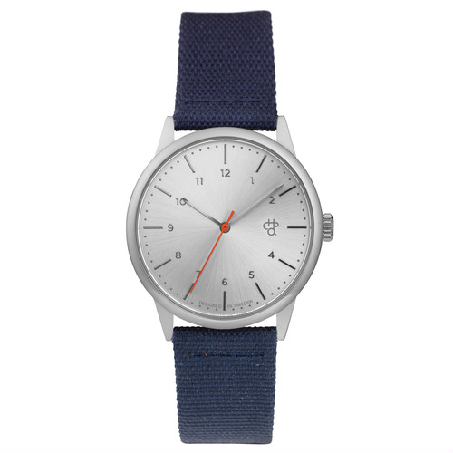 RAWIYA CLASSIC SILVER【CHPO】 Silver metal dial. Navy canvas & vegan leather strap