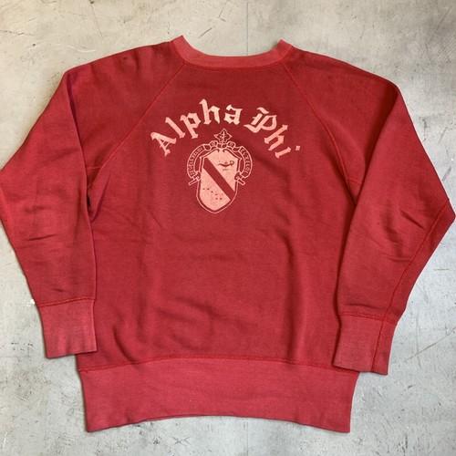 50's 60's UNKOWN ラグランスウェットシャツ Alpha Phi  ソロリティー フロッキープリント レッド 赤 フェード M~L位 希少 ヴィンテージ BA-1242 RM1611H