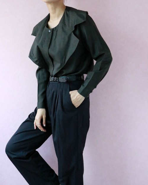 Christian Dior charcoal gray blouse