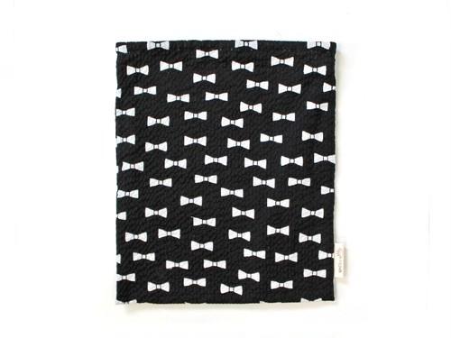 ハリネズミ用寝袋 L(夏用) 綿リップル×スムースニット リボン ブラック