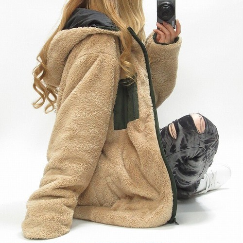 BIGポッケ パイピング配色切り替え シャギーボアジャケット ふわふわジャケット オーバーサイズ 男女OK ベージュ