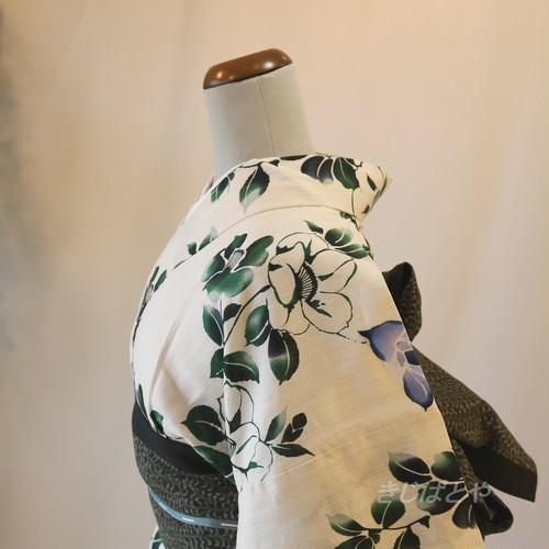 綿麻 白地に椿の浴衣