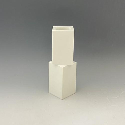 【中尾純】白磁面取花器(マット)