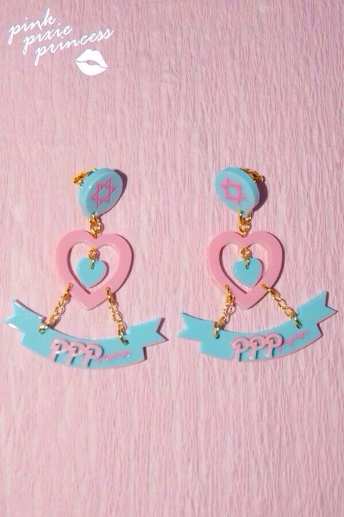 ●PPP● Heart Ribbon earrings / milky blue × milky pink