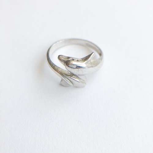 silver 925 dolphin ring #9[r-109]