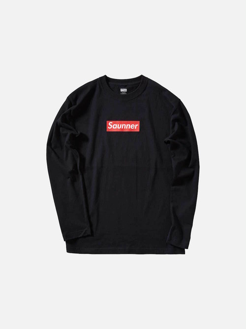 Saunner Box Logo Long Sleeve Tee - Black