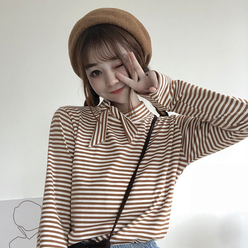 【トップス】春秋シンプルファッションカジュアルスウィートハイネックTシャツ