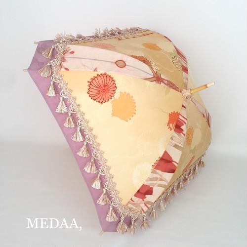 着物地の日傘 四角 クリーム×藤色 菊