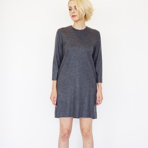 Soft Wool Simple Dress / Grey