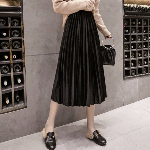 pleats long skirt 4color
