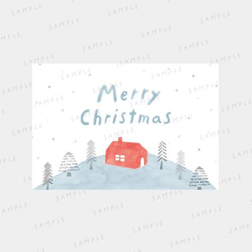 Xmasカード ・デザインデータ〈赤い家〉