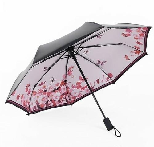 中は快晴 ピンクのお花と蝶の可愛らしい折りたたみ傘