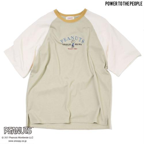 <PEANUTS>刺繍ラグランOVER Tシャツ NO1515012