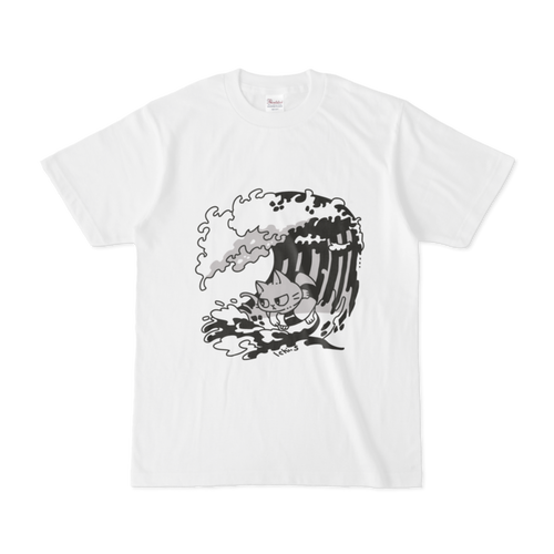 波に乗る猫Tシャツ