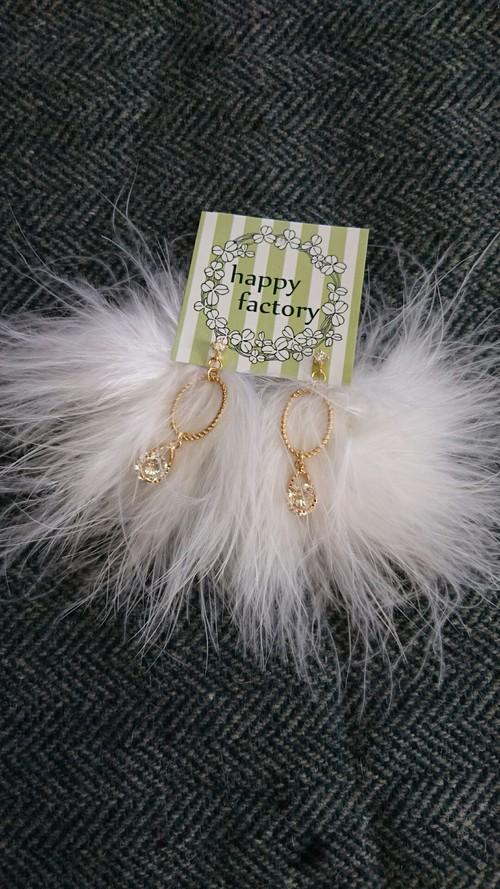 Crystalマラボーピアス(ホワイト)
