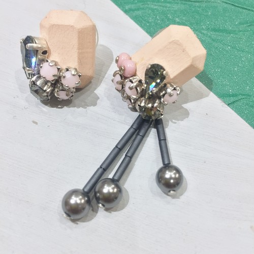 【EL PRODUCTS】pearl wood(ピンク)ピアス/イヤリング
