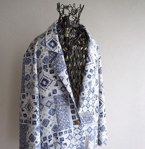 1990's USA製 [ALICE STUART] 1ボタン テーラードジャケット リネン系 ホワイト×ブルー 実寸(women's L程度) ヴィンテージ