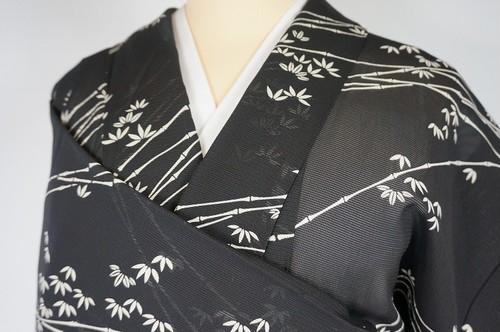 【夏】絽 竹笹 小紋 正絹 黒 白 261