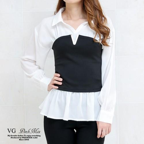 Vパーツ付きビスチェドッキングシャツ【VS9536B】