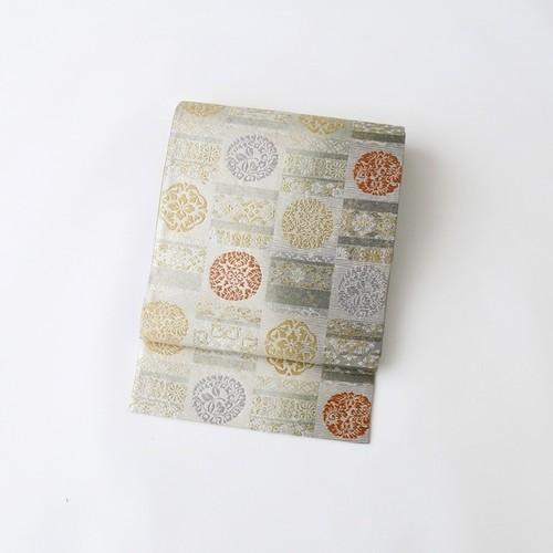 9854 未使用◆市松取横段文◆袋帯