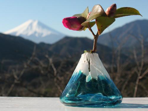 富士山の一輪挿しー水色