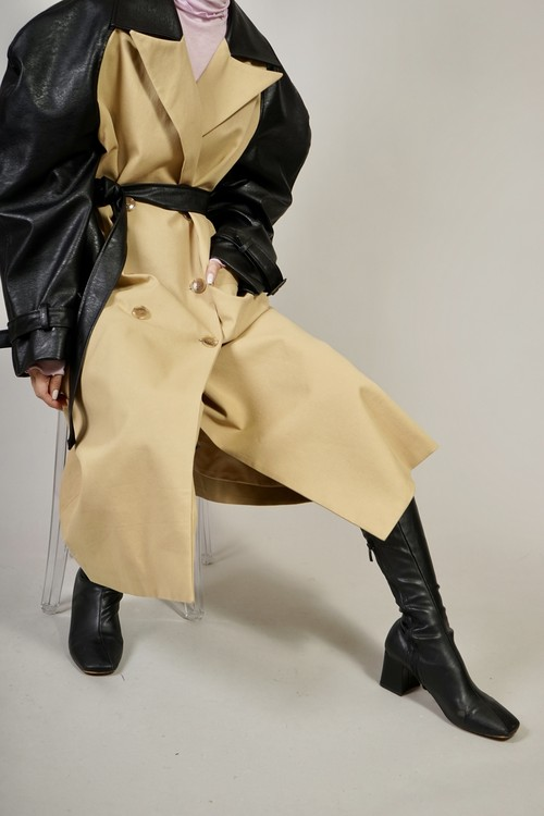 FAUX LEATHER SLEEVE TRENCH COAT (BEIGE) 2103-59-17