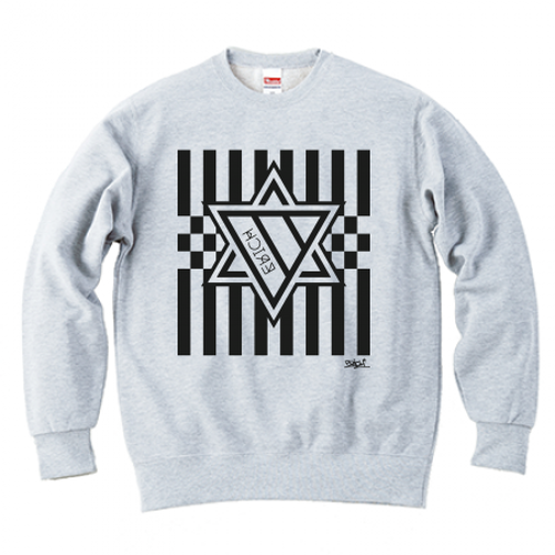ERICH / HEXAGRAM STRIPE CREWNECK SWEAT ASH