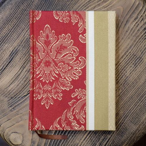 フランス産 ジャガード織りレッド A6罫線Colorisノート ポータブルサイズ