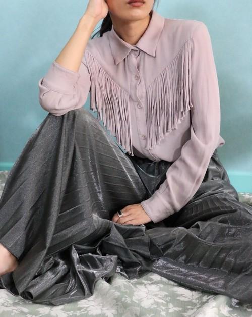 mauve fringe blouse
