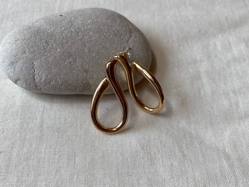 <vintage silver925>gold curvy pierce