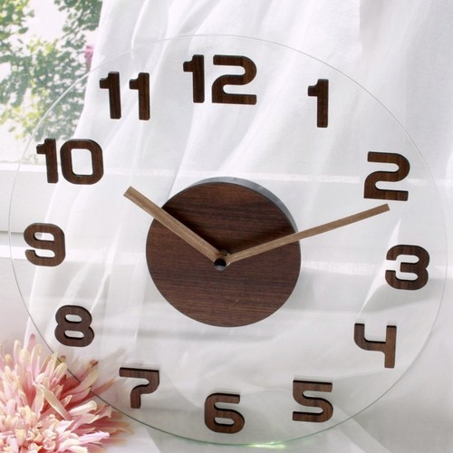 clear glass wood wall clock 2colors / クリア ガラス ウッド ウォール クロック 壁掛け時計 韓国 北欧