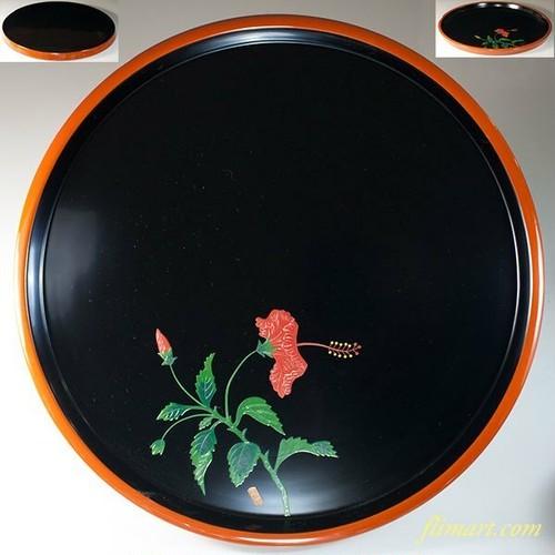 琉球塗琉球漆器天然木一尺二寸丸盆W6741