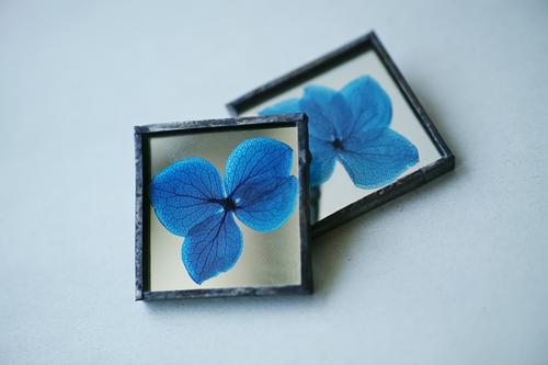 ◆抽選◆お在庫2点・ブローチ〚紫陽花 ブルー〛