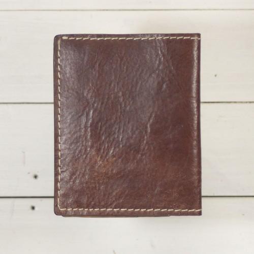 二つ折りお札が入るカードケースコインケース無しマネークリップ型 アンティークレザー