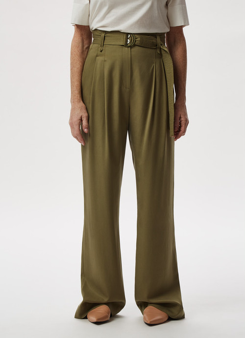 LYOCELL STRAIGHT TROUSERS WITH BELT