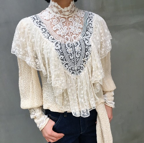 70's  White lace blouse