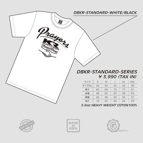 PRAYERS : PRAY FOR 43 :WHITE BODY / BLACK PRINT : DBKR-STANDARD#01