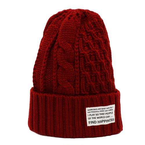 CABLE ARAN KNIT CAP - WINE