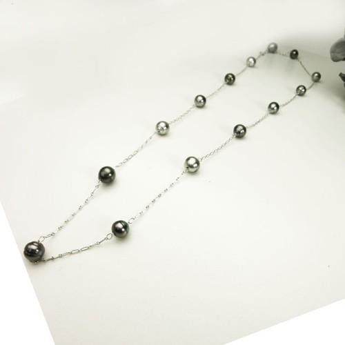 ブラックパールl(黒真珠xSVのロングネックレス)75cm