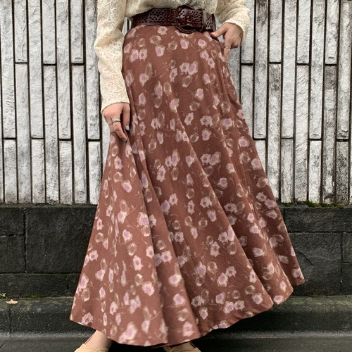 (LOOK) flower print long skirt