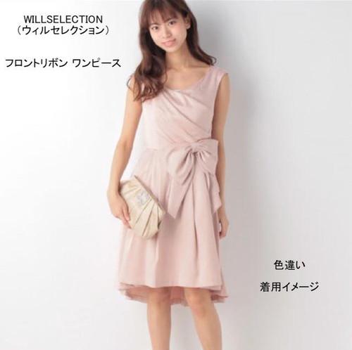 【ラスト1点】新品タグ付きフロントリボン ワンピース 結婚式 ドレス 発表会 リボン 紺 シンプル
