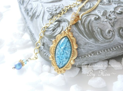 ~§:Decorative:§~ vintage Caribbean blue opal ネックレス。