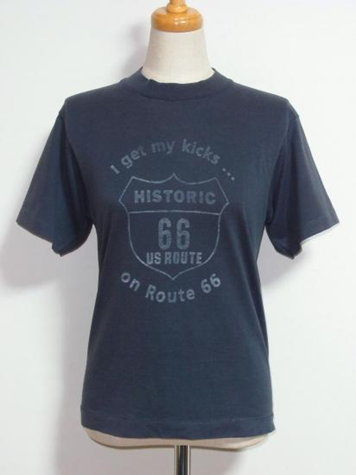"1980's-90's SCREEN STARS ""ROUTE 66""プリントTシャツ 黒 表記(14-16)"