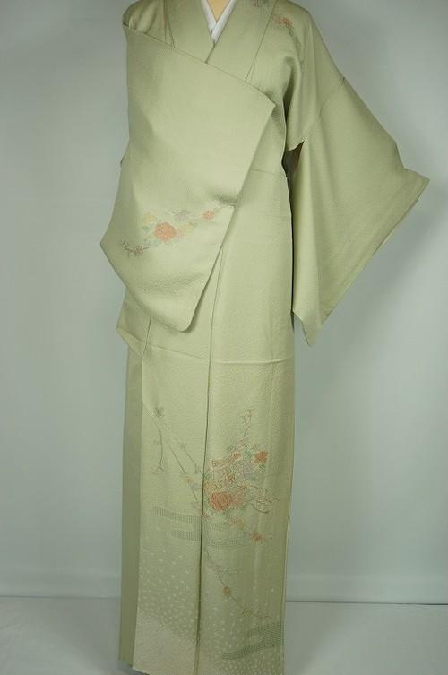 汕頭刺繍 絞り 訪問着 牡丹 熨斗 正絹 薄柳色 黄緑 292