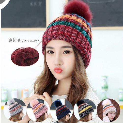 ニット帽 ボンボン レディース ふんわり 防寒 秋冬 かぶりやすい ニットキャップ 小顔効果