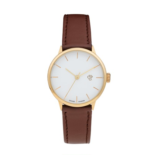 KHORSHID MINI GOLD【CHPO】 White dial. Brown vegan leather strap