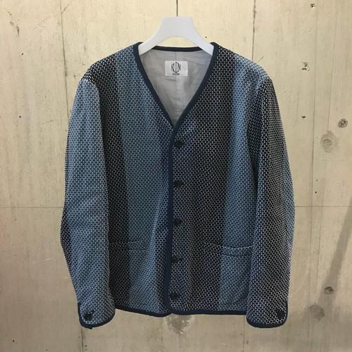 KUON カツオ縞藍染刺し子 ノーカラージャケット